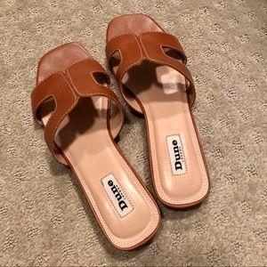 Dune London Loupe Sandal in Tan Leather
